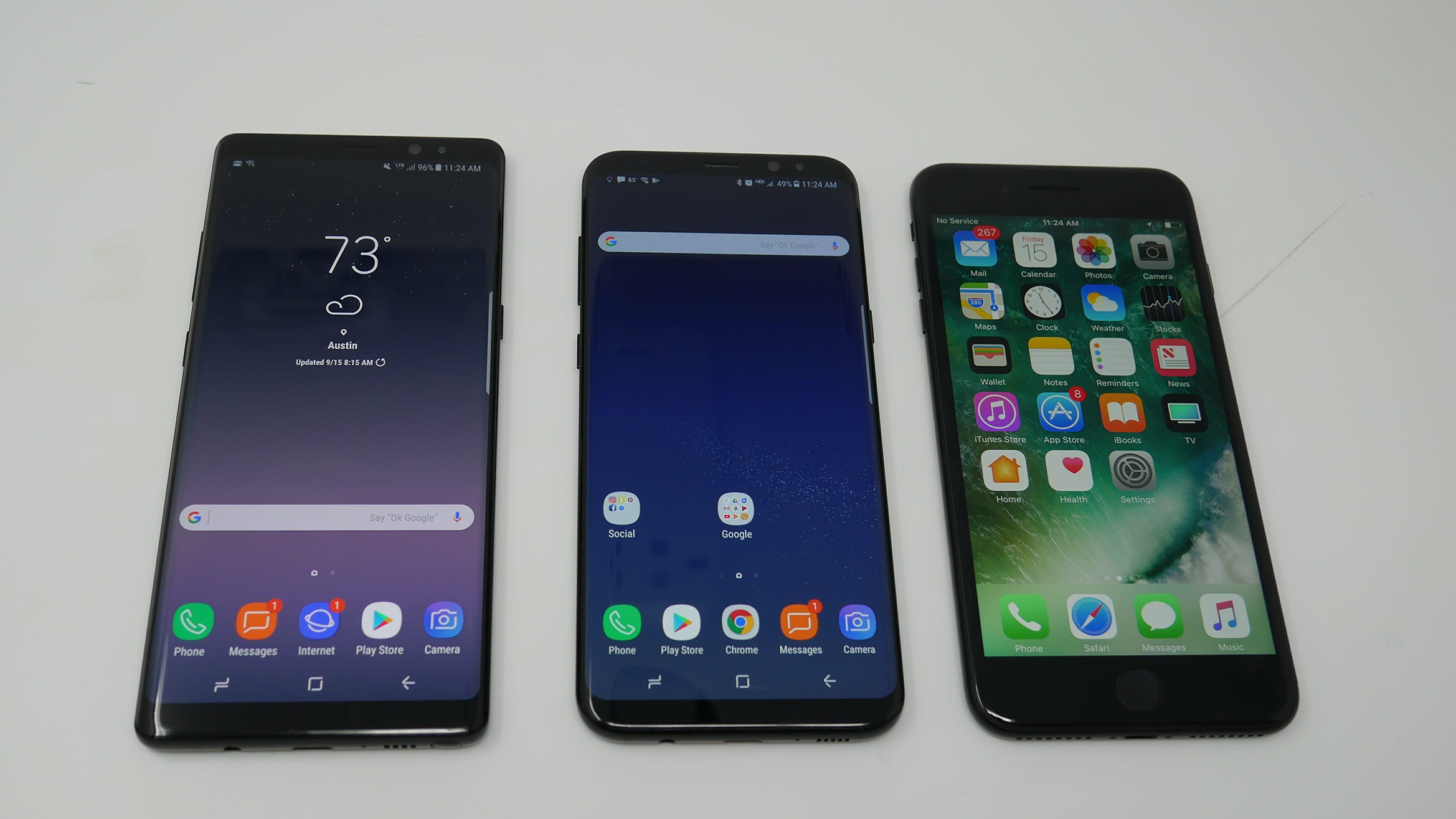samsung galaxy note 8 vs. galaxy s8 vs. iphone 7 plus