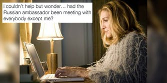 An image of Sarah Jessica Parker's 'Sex and the City' character Carrie Bradshaw with a tweet about the Russian ambassador.