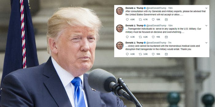 Donald Trump tweets about transgender soldiers