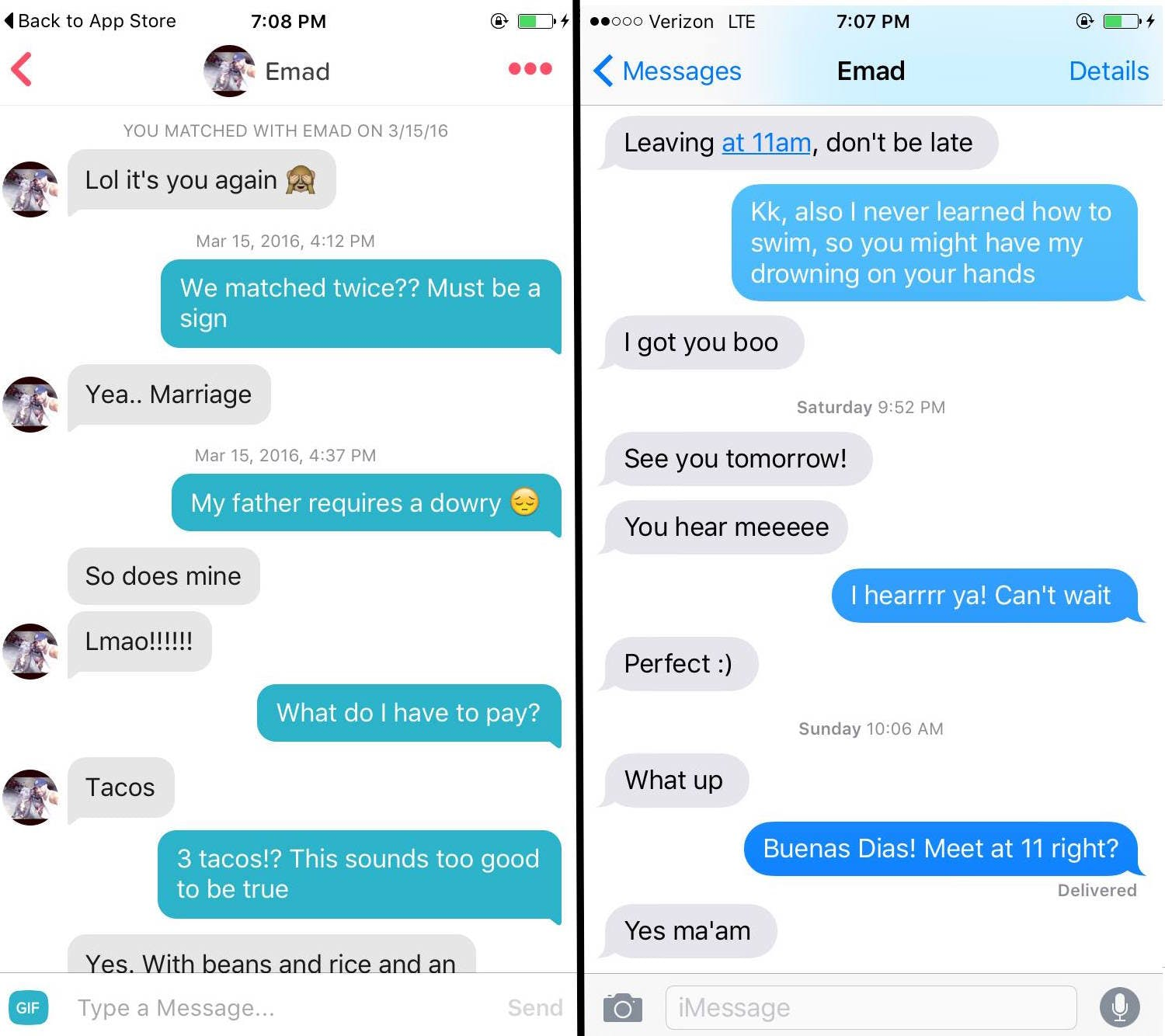 On the left are their original conversations on Tinder, the right their texts leading up to the boat setting sail on Lake Michigan.