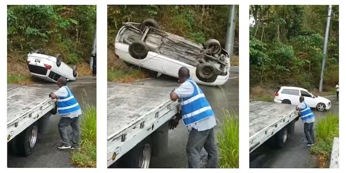 Tow truck driver flips car