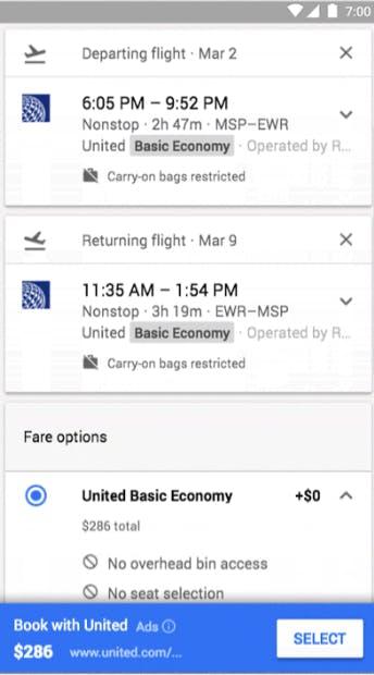 Google flights hidden airline fees, Android app