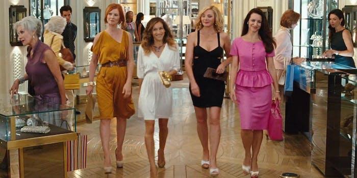 Miranda, Carrie, Samantha and Charlotte walking through a store