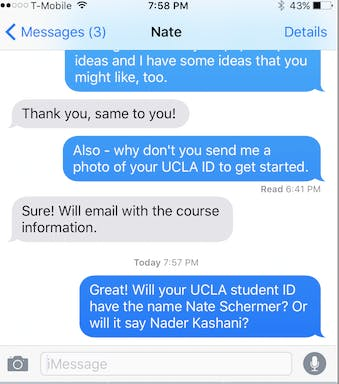 Text exchange between feminist professor who responded to the ad and Shermer/Kashani/Modgeddi