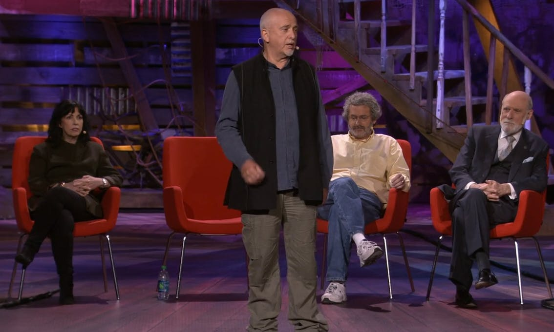 Gabriel at a 2013 Ted Talk with (from left to right) Reiss, Gershenfel, and Cerf
