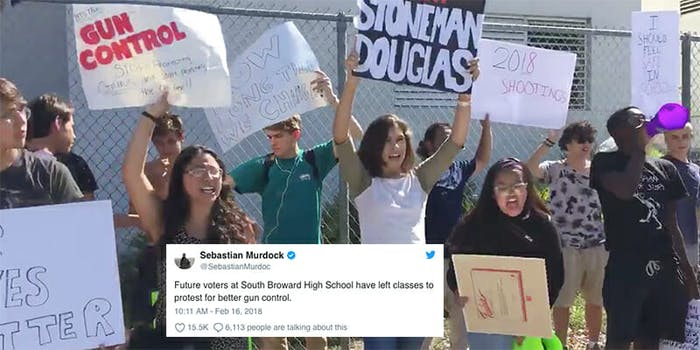 High school students in Florida protested gun violence after the shooting at Marjory Stoneman Douglas High School
