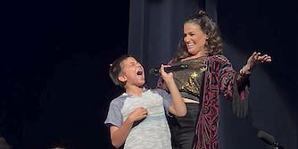 Idina Menzel and 11-year-old who blew the crowd away with his rendition of 'Let It Go'