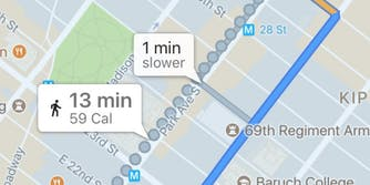 google maps calorie count