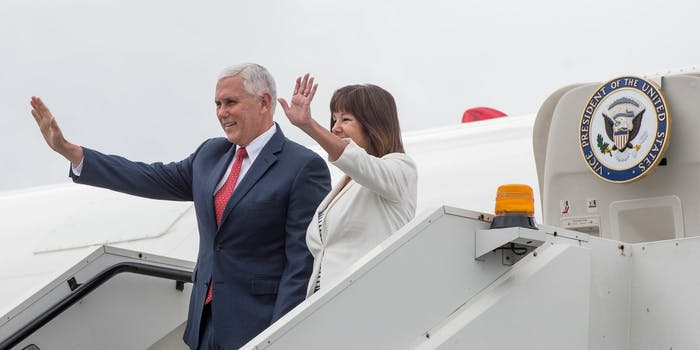 Mike and Karen Pence exiting Air Force Two.