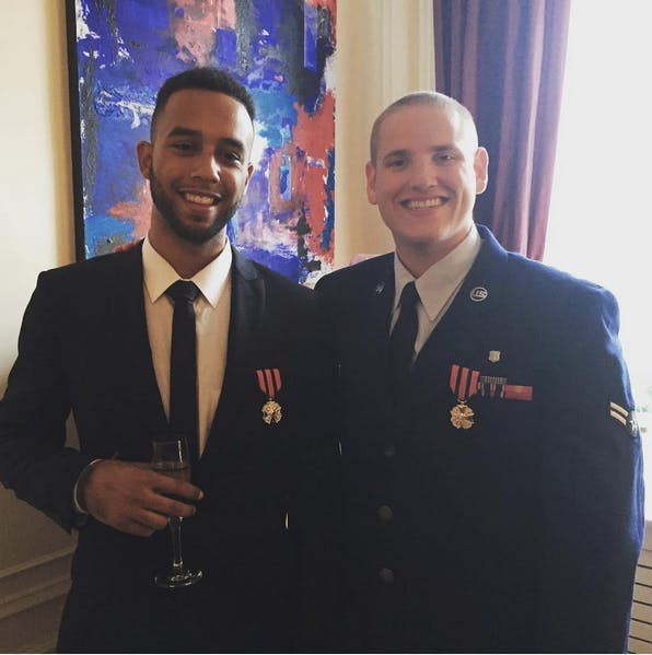 Spencer Stone (right) after receiving an award from the Belgian prime minister.