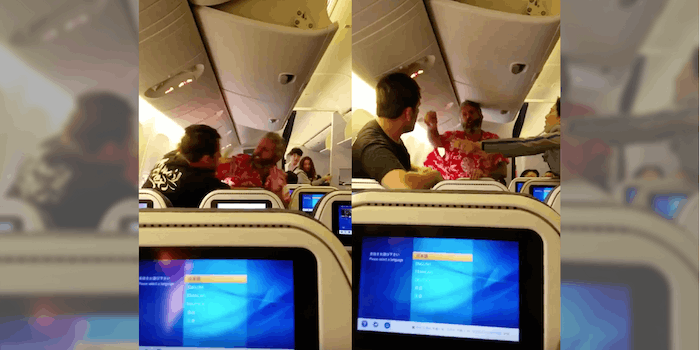Airplane fight between two passengers headed from Tokyo to Los Angeles.