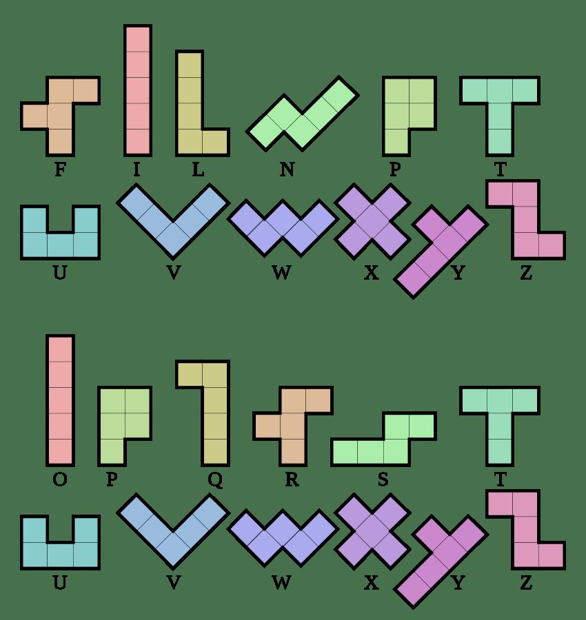 Tetris pieces: Pentominos