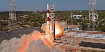 PSLV-C38 (Polar Satellite Launch Vehicle) takeoff