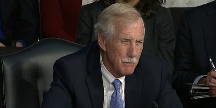 """Sen. Angus King (I-Maine) told Twitter, Google and Facebook on Wednesday afternoon that he believes Russia got a """"free pass"""" for the interference it caused on American social media giants' platform ahead of the 2016 election and other campaigns it has waged."""