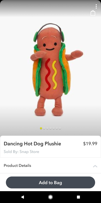 snapchat snap store dancing hot dog