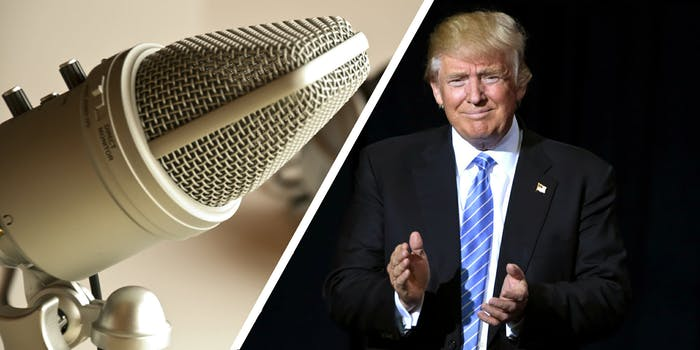 Microphone and President Donald Trump