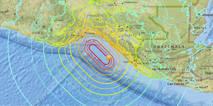 A map of the magnitude 8.1 earthquake off the southern coast of Mexico.