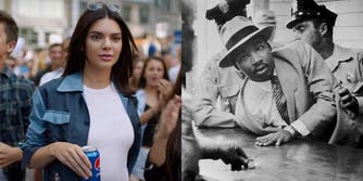 Martin Luther King Jr. and Kendall Jenner from a Pepsi commercial.