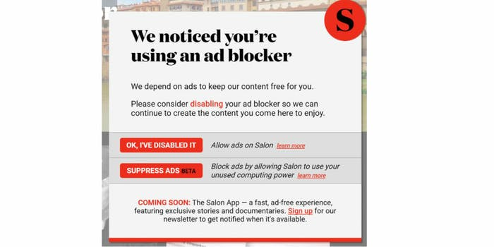 salon cryptocurrency miner pop-up ad block