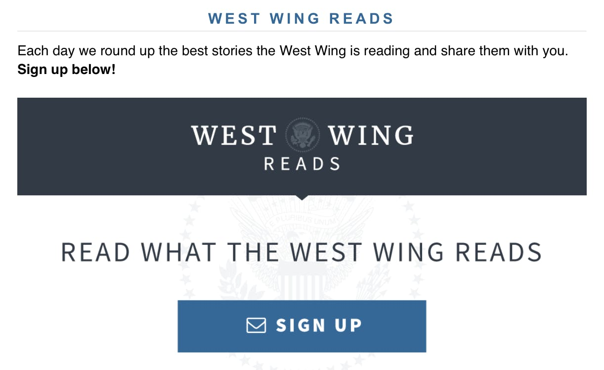West Wing Reads 1
