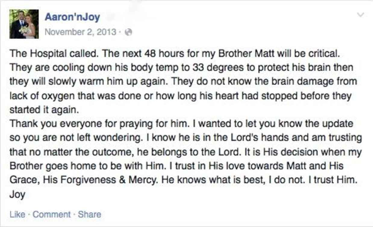 A Facebook update on a critically ill family member