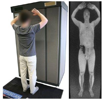 Airport body scanner gun detection