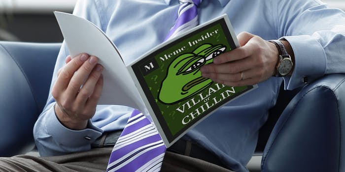 Man in suit reading Meme Insider magazine with Pepe on the cover