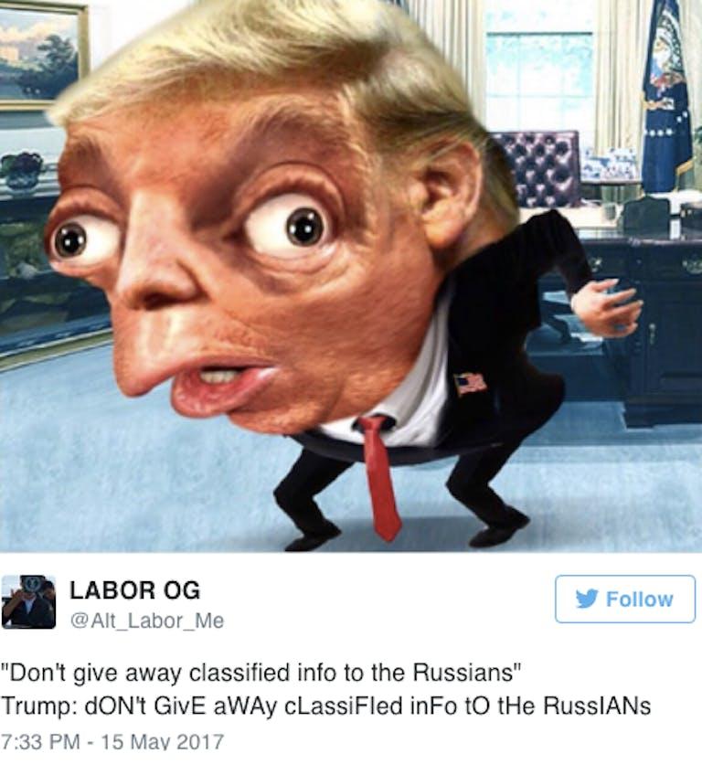 Mocking Trump meme
