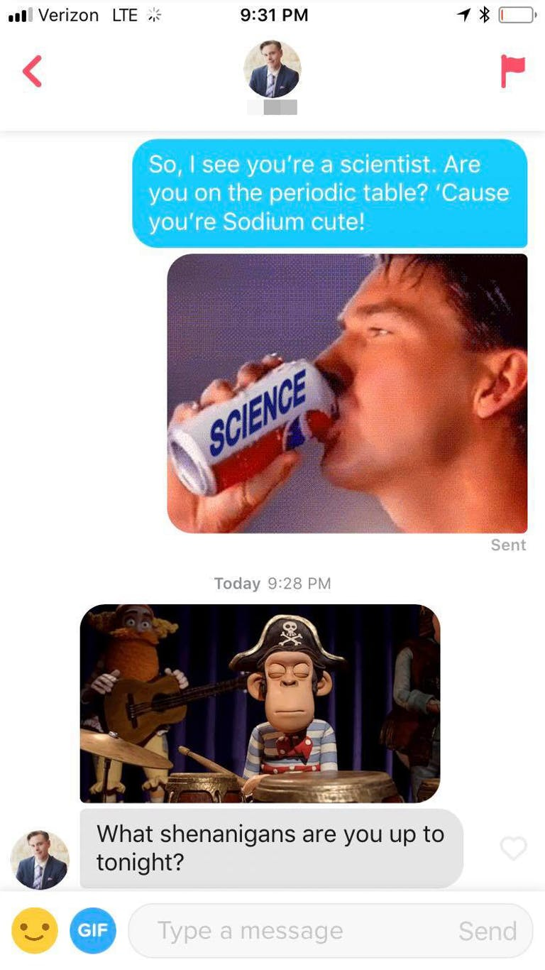 """funny tinder pick up line starting with a pepsi gif and the words """"Are you on the periodic table? Cos you're sodium cute"""""""