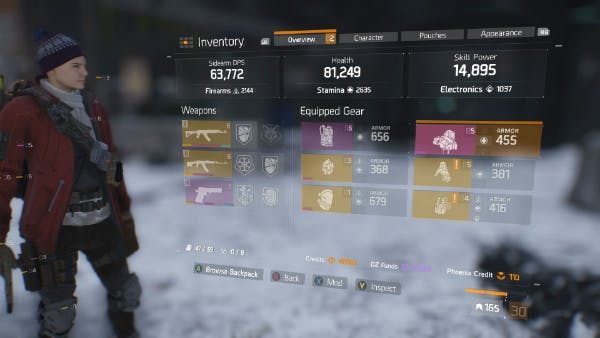 Your Gear Score is displayed next to your character level, in the lower-right-hand corner of your gear screen (in this case, 165).