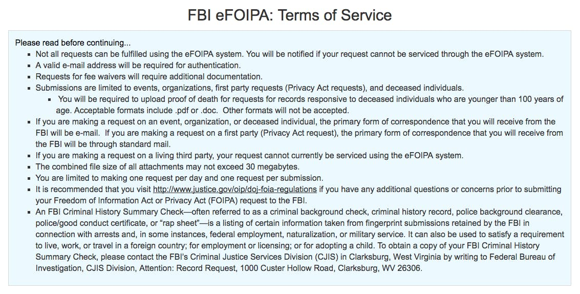 FBI's terms of service for submitting FOIA requests through its online portal