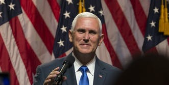 mike pence private email: mike pence smiling at rally