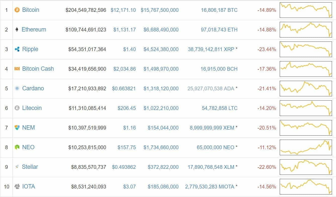 bitcoin cryptocurrency top 100 decline