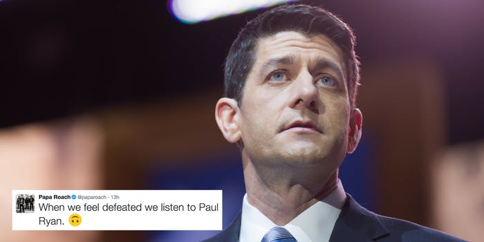 Paul Ryan speaks at the Conservative Political Action Conference in 2014, with a tweet from Papa Roach making fun of Ryan superimposed on the image.