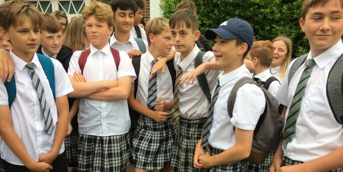 Isca Academy boys in skirts