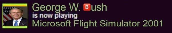 george w. bush now playing flight simulator