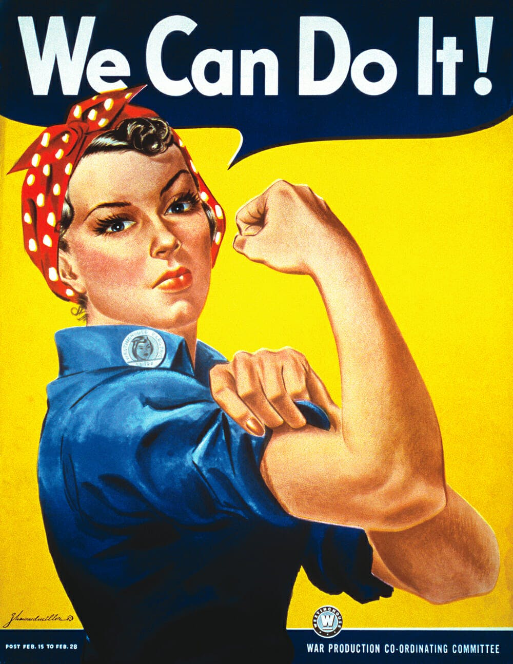 The Rosie the Riveter poster with Rosie saying,
