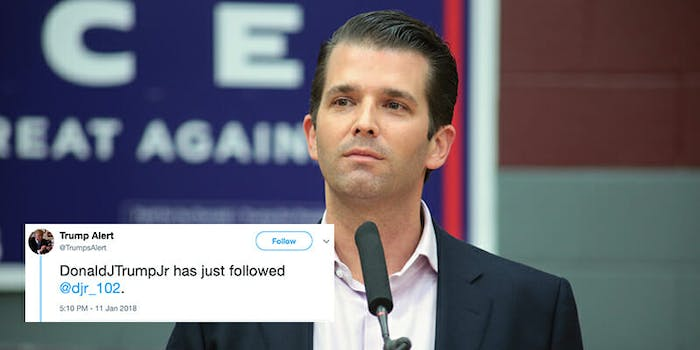 Donald Trump Jr. came under fire Thursday for seemingly having followed a porn Twitter account.