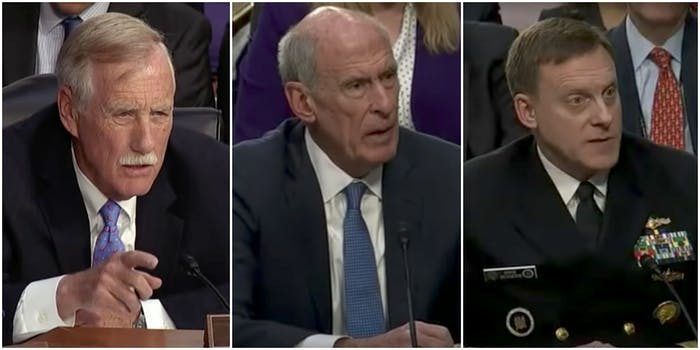 Sen. August King and DNI Dan Coats and NSA Chief Mike Rogers