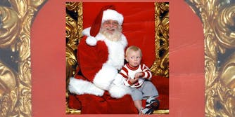 Child sitting on Santa's lap