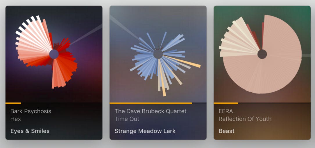 Plexamp SoundPrint examples of three tracks