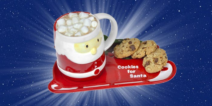 santa milk and cookies set