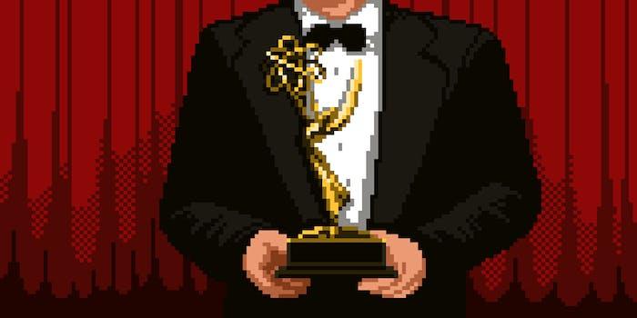 8-bit person holding Emmy award