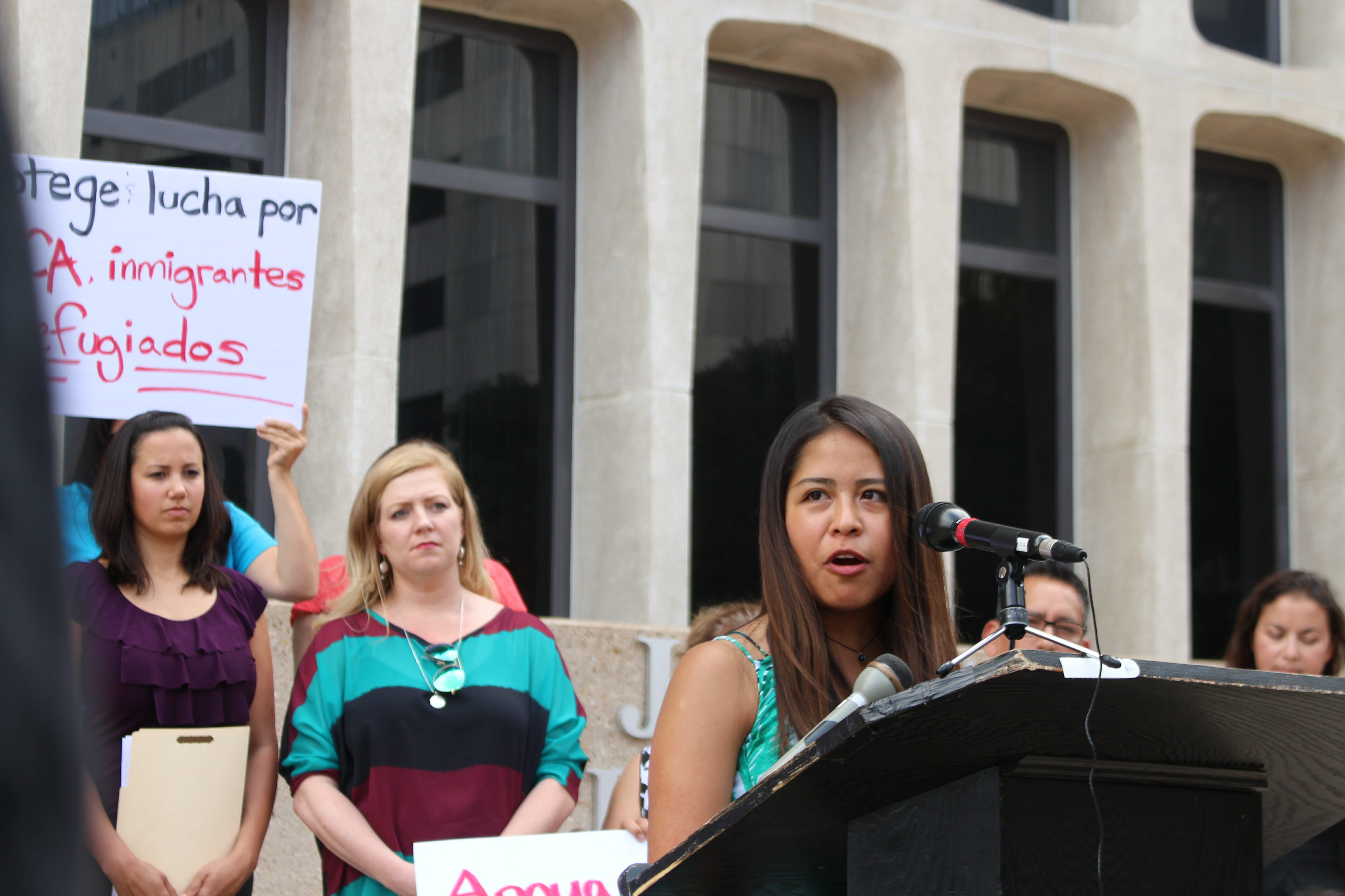 Vanessa Rodriguez, a student with UT Austin's University Leadership Initiative, talks about her experience as an undocumented student and Deferred Action for Childhood Arrivals (DACA) Act recipient at the group's conference regarding President Donald Trump's resignation of DACA on Sept. 5, 2017 in Austin, Texas.