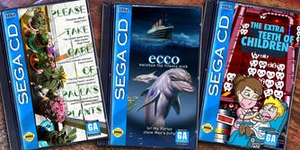 """fake Sega CD games """"Please Take Care of Paula's Plants"""", """"ecco Watches the Titanic Sink"""", and """"The Extra Teeth of Children"""""""