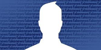 """Facebook icon with """"Fakenews"""" logo pattern in the background"""