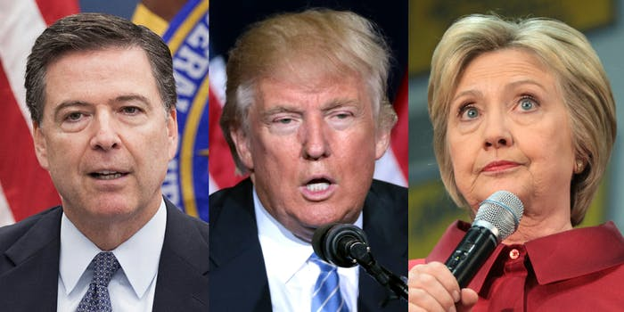 James Comey, Donald Trump, and Hillary Clinton