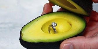 Engagement ring inside avocado