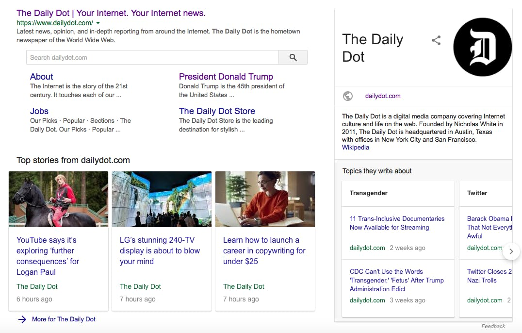 Screengrab of a Google search for The Daily Dot