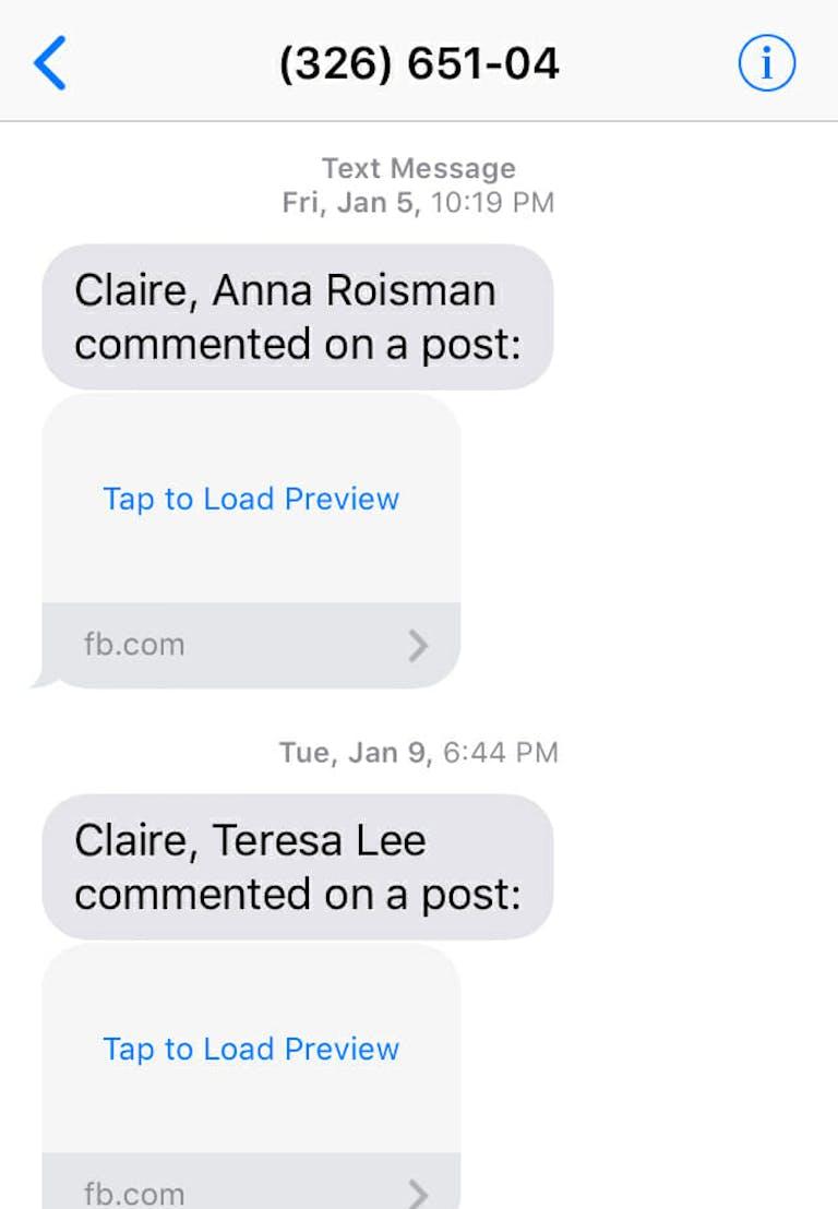 deactivate facebook texts